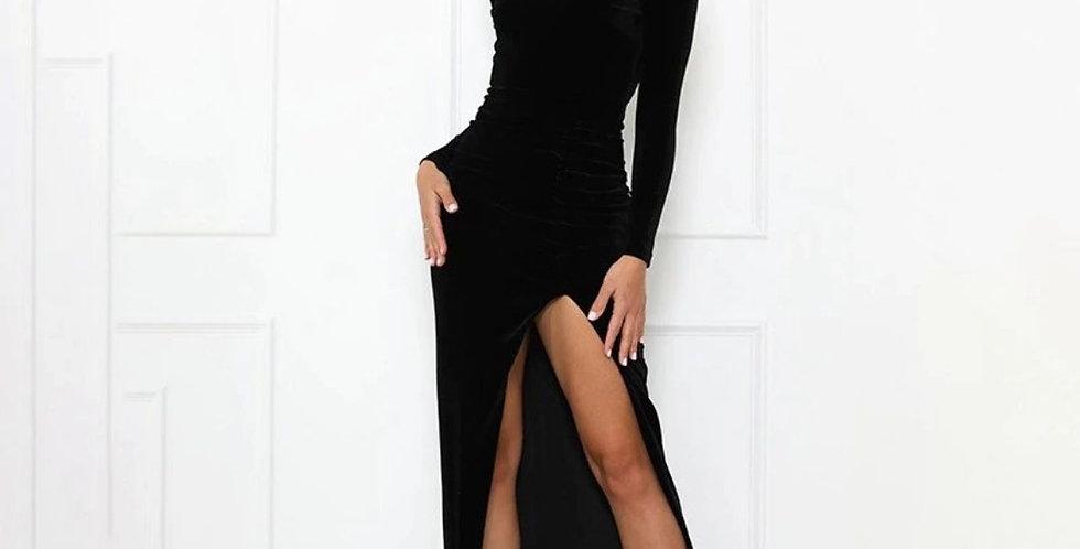 Backless Slim Side Split Velvet Black Maxi Dress
