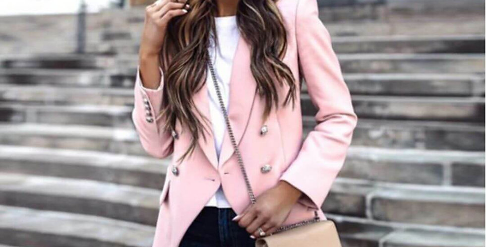 Single Breasted Elegant Pink Blazer
