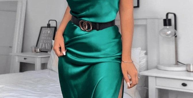Satin Sleeveless Elegant Green Dress