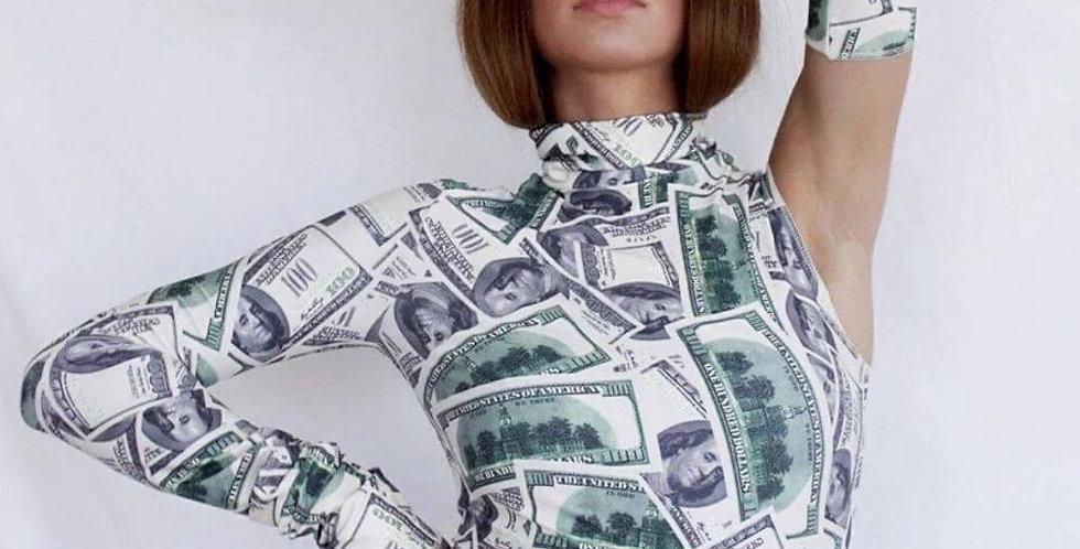 Money Print One Shoulder Turtleneck With Glove Top