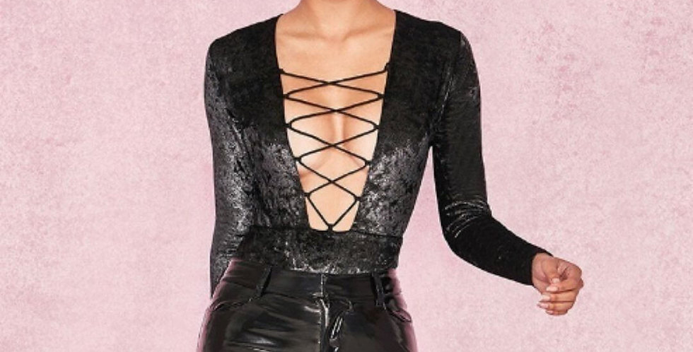 Sexy Hollow Out Black Bodysuit