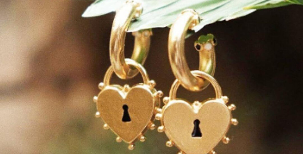 Irregular Chunky Lock Shape Heart Charm Earrings