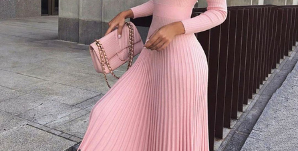 Elegant Party Pleated Sweater Dress