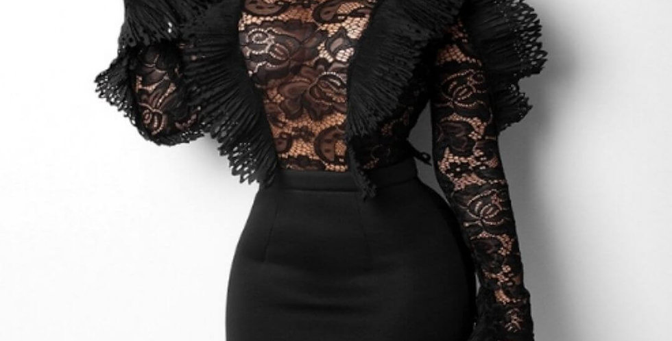 Mesh Ruffle Transparent Lace Bodysuit