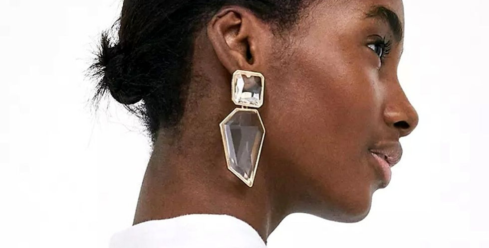 Geometric Crystal Stone Dangle Earrings