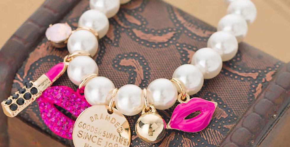 Chain Pearls Rhinestone Red Lips Lipstick Bracelet