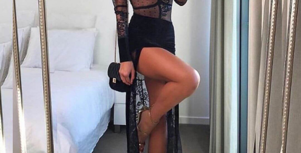Lace Party High Split Maxi Dress