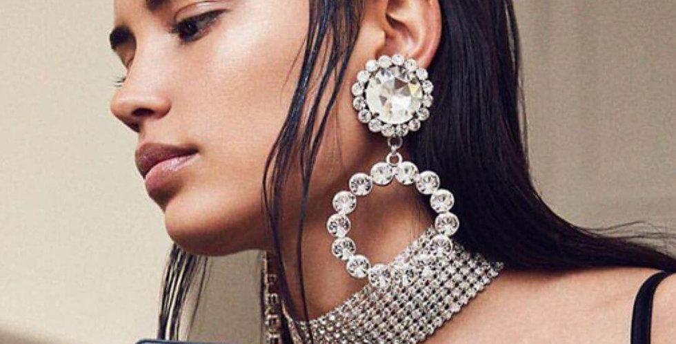 Super Shiny Crystal Gems Circle Earrings