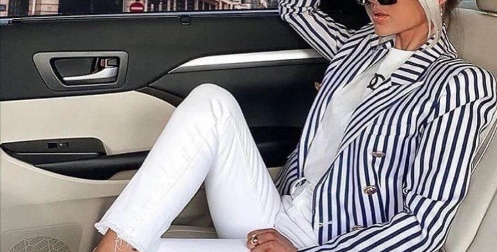Double-Breasted Classic Striped Slim Blazer