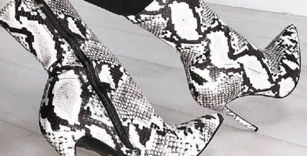 Snake Print Ankle High Heels