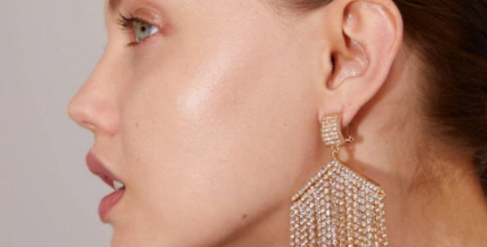 Tassel Crystal Long Dangle Drop Earrings