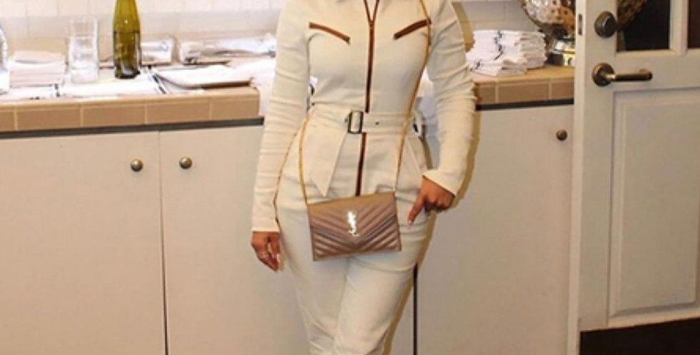 Over Zipper Solid Khaki Jumpsuit