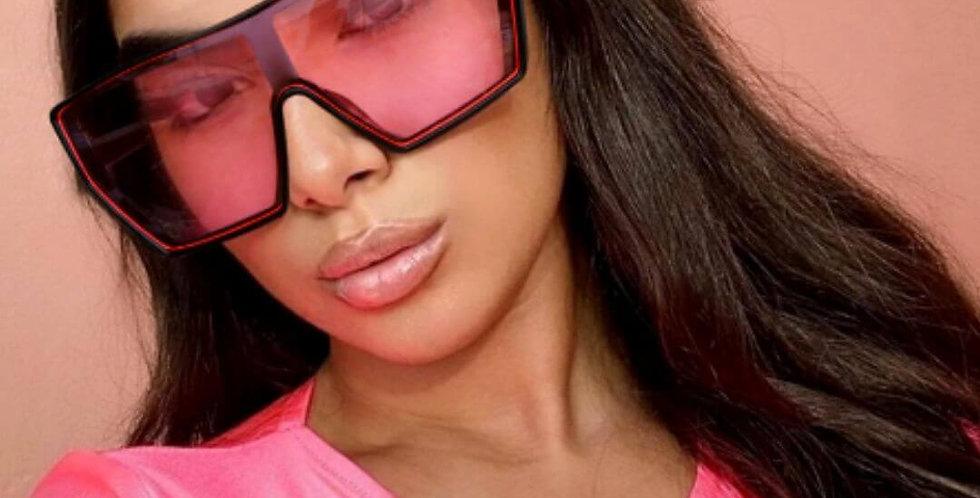 Oversized Punk Vintage Pink Square Sunglasses