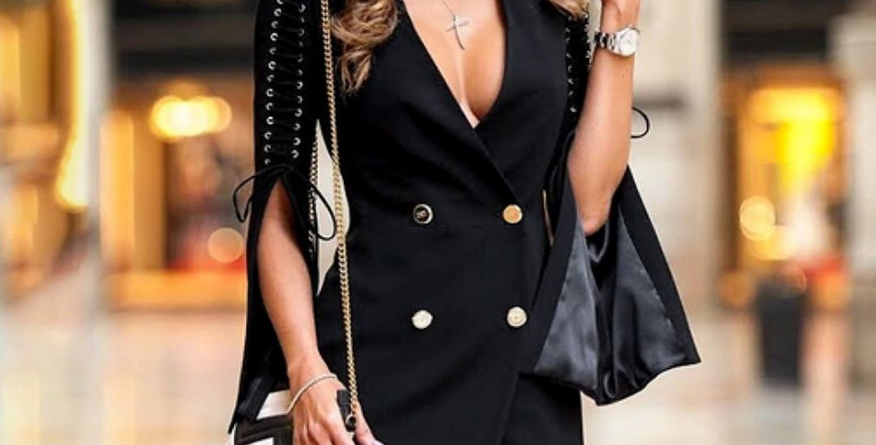 Elegant Black Lace Up Dress/Coat