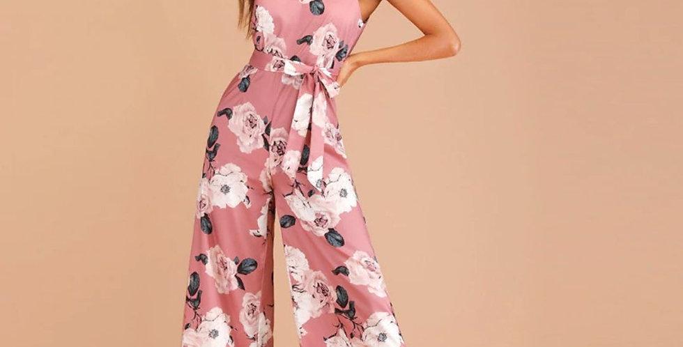 Floral Print Zip Back Belted Jumpsuit