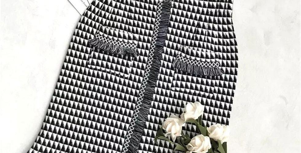 Vintage Pencil Plaid Tassel Skirt