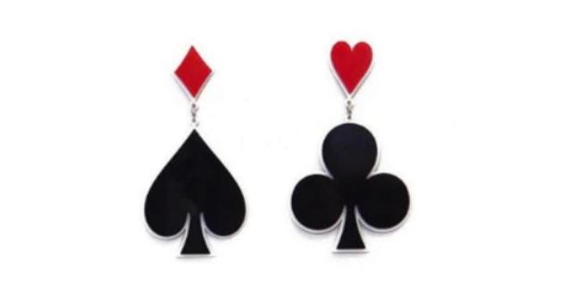 Big Poker Spades Acrylic Dangle Drop Earrings