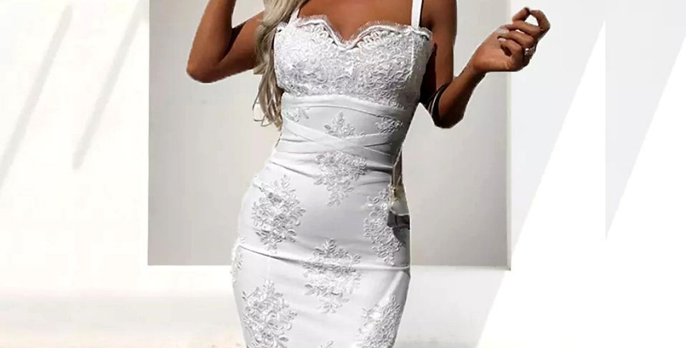 Crochet White Lace Mid-Calf Dress