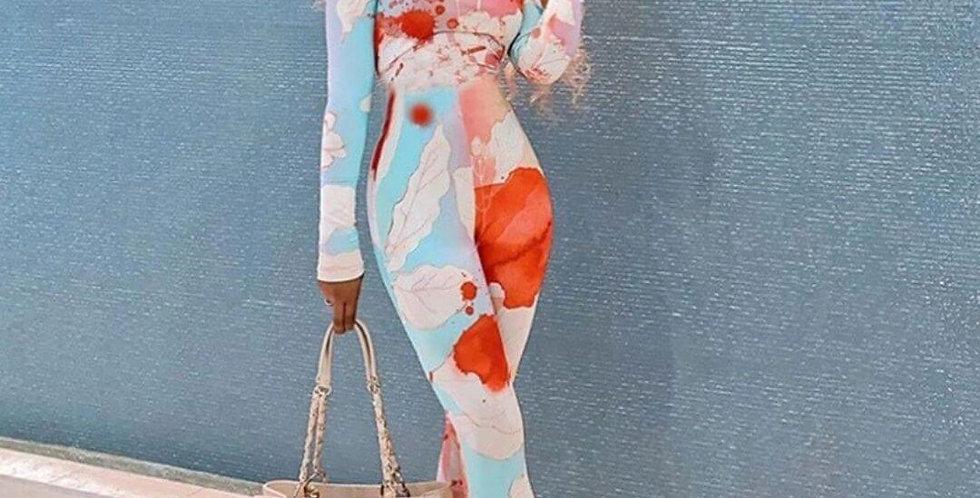 Floral Tie Dye Print Body-con Jumpsuit