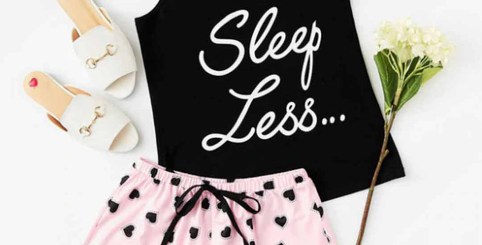 Sleep Less Letter Print Sleepwear