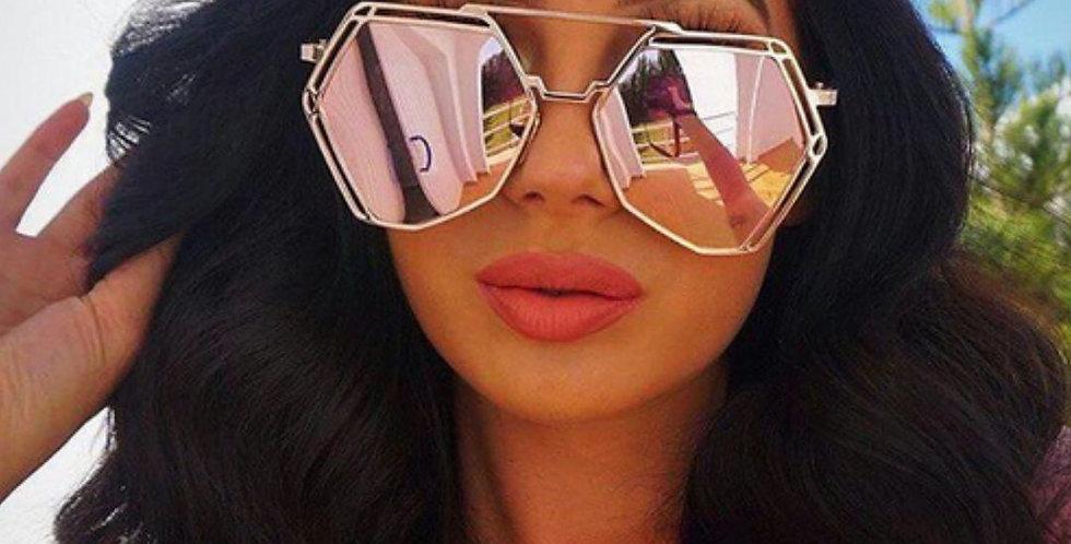 Polygon Anti-Reflective Hexagon Sunglasses