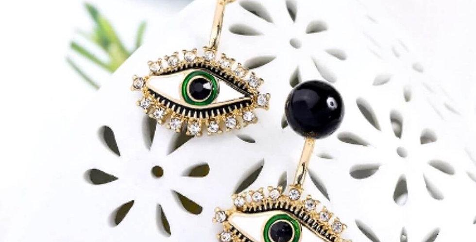 Acrylic Crystal Evil Eyes Stud Earrings