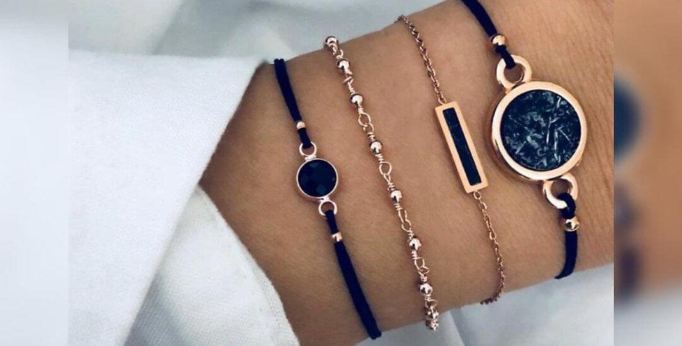 Rectangle 4PCs Handmade Bracelet Set