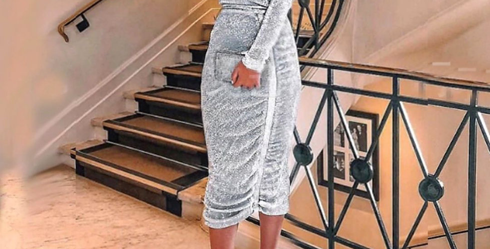 Sexy Night Out Silver Dress