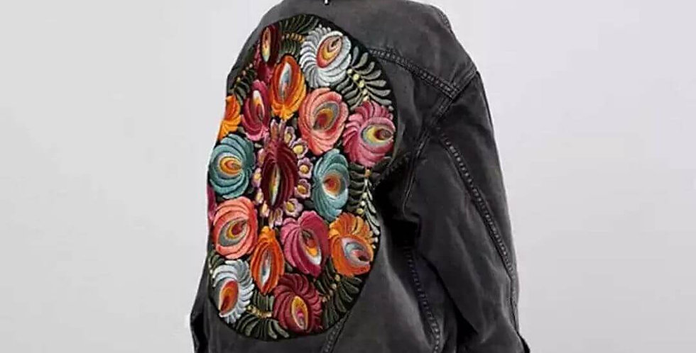 Colorful Floral Embroidered Denim Jacket