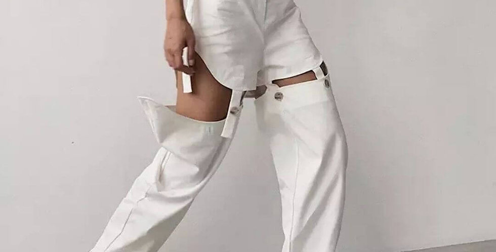 Sexy Hollow Out High Waist Detachable Pant