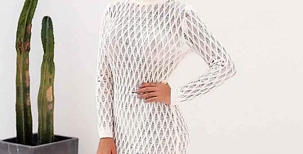 Knitting See Through White Cotton Dress