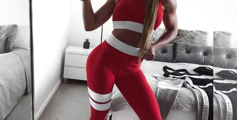 Running Fitness Red Tracksuit