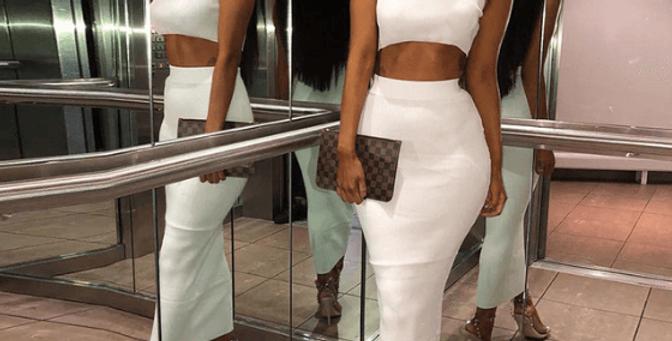 Two Pieces Top High Waist Skirt Matching Set