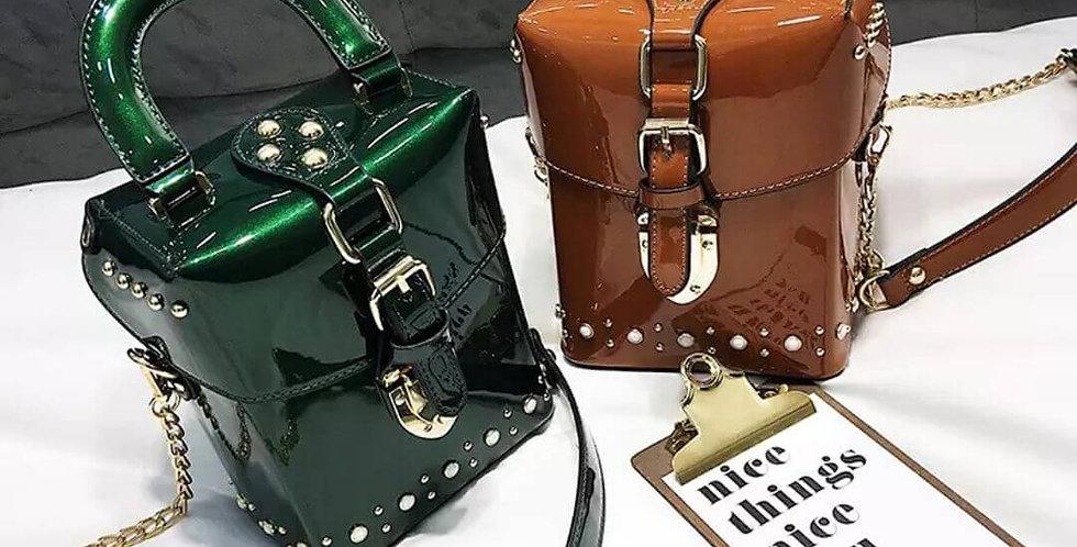 Leather Pearl Shoulder Handbag