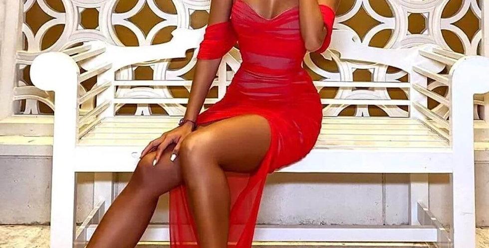 Mesh Dress Off The Shoulder Maxi Dress