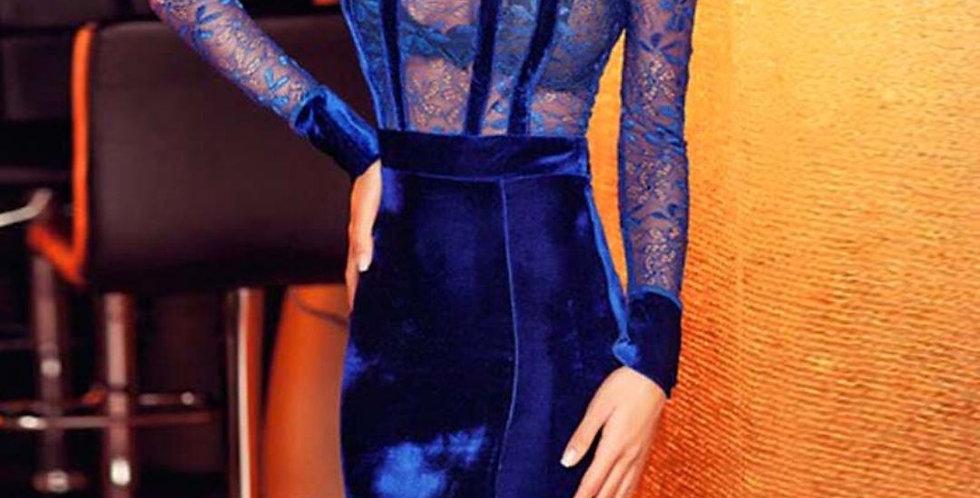 Autumn Winter Blue Velvet Dress