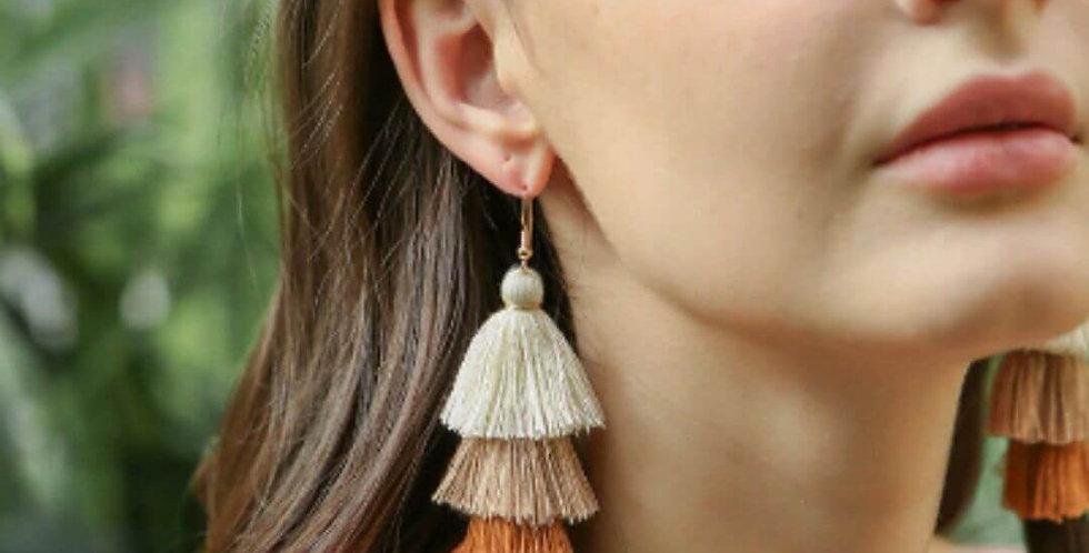 4 Layered Tassel Multi Color Earrings