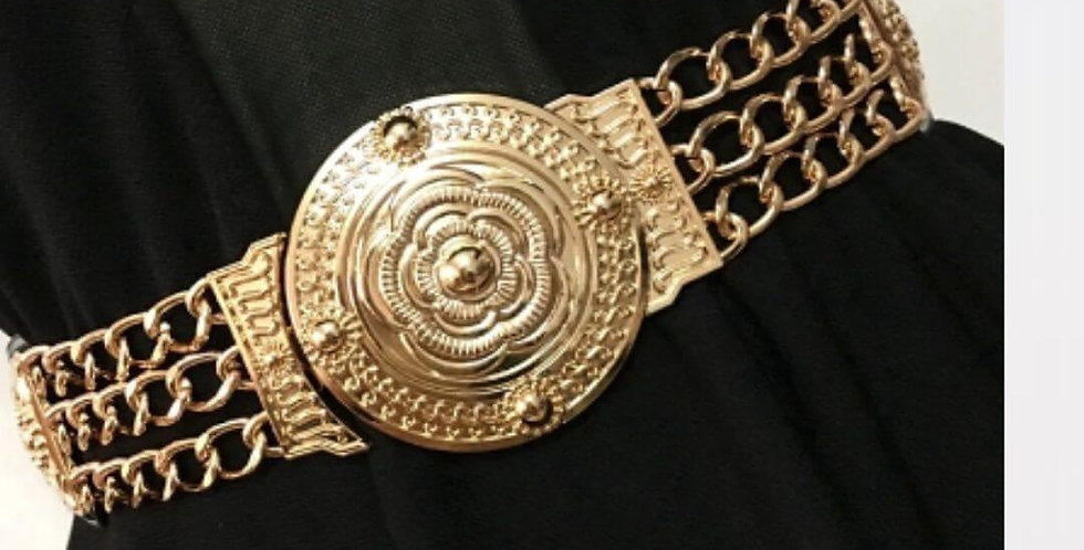 Flower Waist Elastic Wide Metal Belt