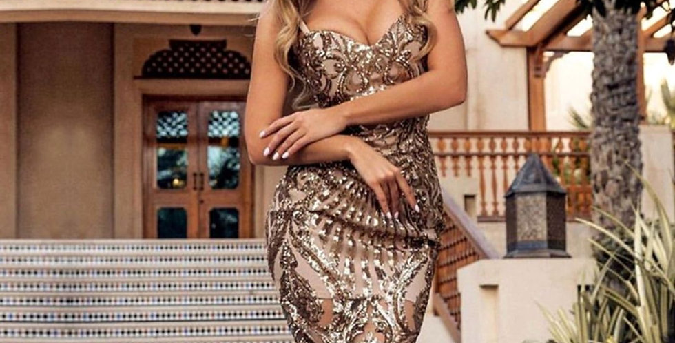 Luxury Sequined Spaghetti Strap Dress