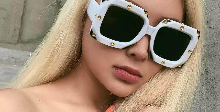 Italian Big Frame Square Diamond Sunglasses