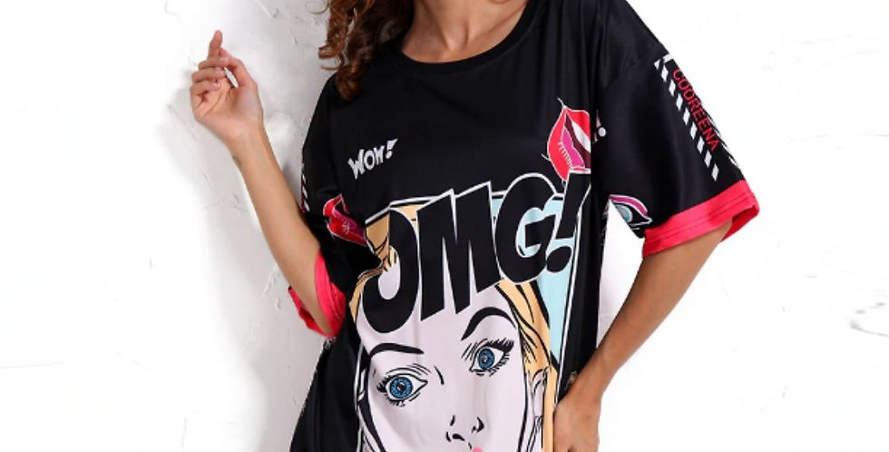 Black OMG Cartoon T-Shirt/Dress