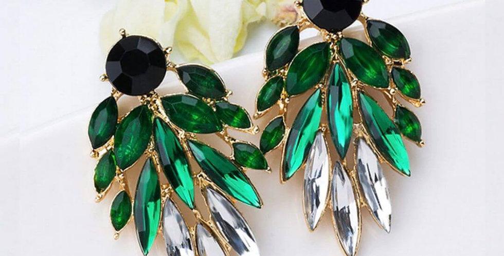 Green Black Dangles Earrings