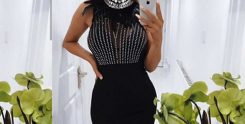 Hot Stamping Feather Embellished Dress