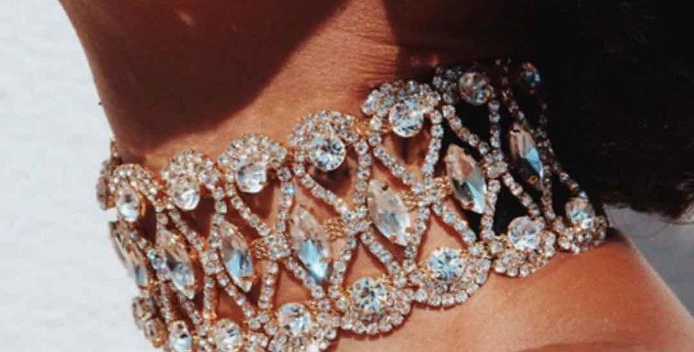 Luxury Punk Flower Crystal Rhinestone Choker