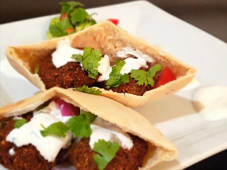 Soft Pita Bread | Crispy Falafel | Tahini Sauce | Yogurt Sauce | Pita Pockets