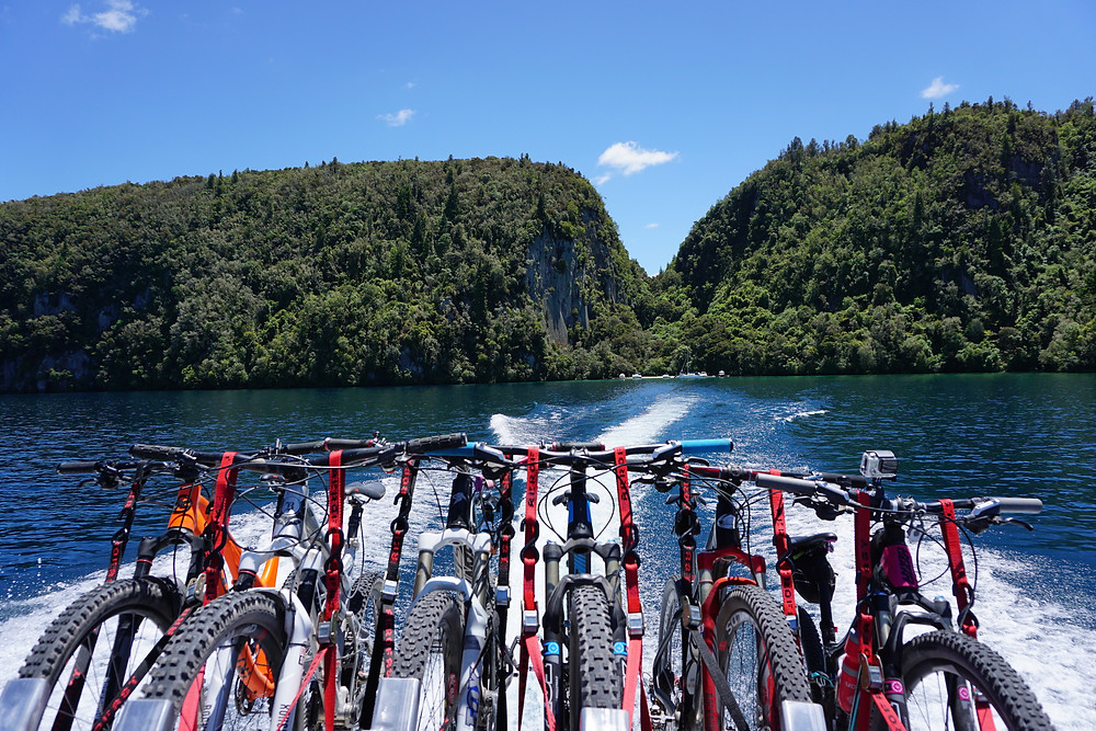 Mountain biking boat shuttle GLT Taupo