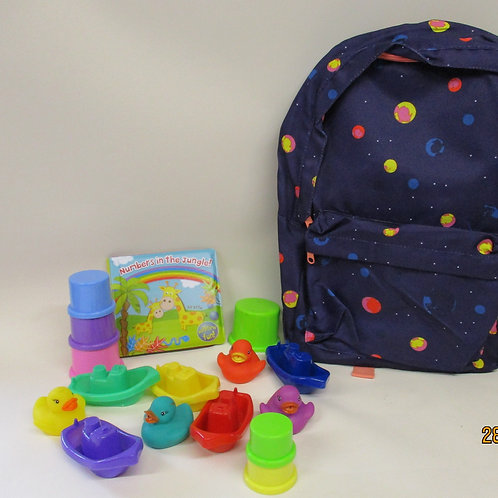 Children's backpack and bath toys selection