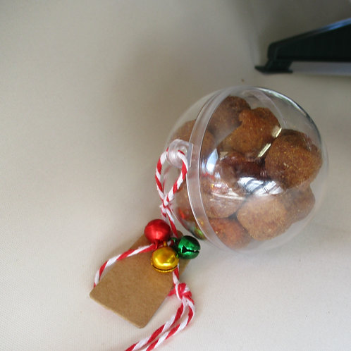 Pet treat filled Christmas baubles