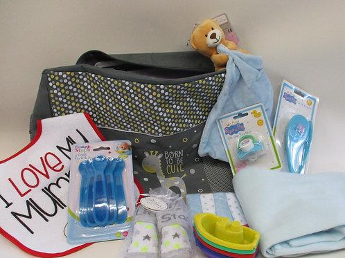 Baby changing bag gift set - blue