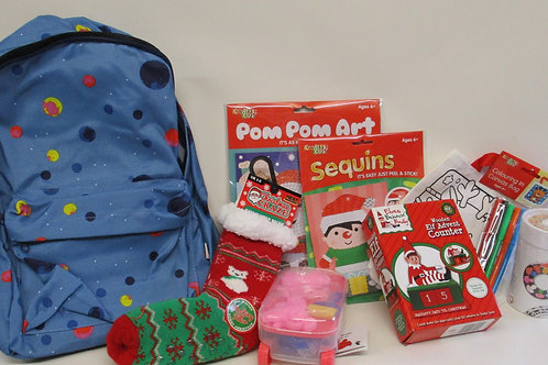 Blue backpack filled with Christmas gifts